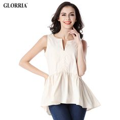 We love it and we know you also love it as well Glorria Women Lady Girls Summer Style Sleeveless Blouses V-Neck Draped Ruffles Hem Tops Fashion Casual Beige Shirts just only $10.19 with free shipping worldwide  #womanblousesshirts Plese click on picture to see our special price for you