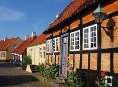 Quaint city street in Ebeltoft, Denmark.