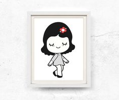 Black and white girl illustration with red flower. Lovely girl poster print. This listing contains HIGH RESOLUTION 8x10 and 11x14 digital files