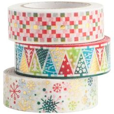 This set of three patterned washi tape rolls offers you an easy way to decorate your holiday gifts, cards or anything else! Easy to tear and reposition, so the possibilities are endless!