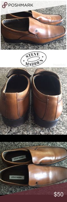 Steve Madden mens shoe Classic Steve Madden tan in color, brushed leather with texture. Slip on style. Worn twice! Excellent condition Steve Madden Shoes Loafers & Slip-Ons