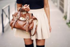 Really loving the high knee socks and short skirt look