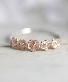 Sterling silver flower ring, statement ring, rose gold ring, flower ring, stacking ring, jewelry, gift for her, summer, holiday, spring by TedandMag on Etsy https://www.etsy.com/listing/184710644/sterling-silver-flower-ring-statement