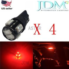 JDM ASTAR 4x T10 5630SMD Super Red LED Car License Plate Light Bulb 194 168 2825 #JDMASTARSidedoorcourtesyparkinglight
