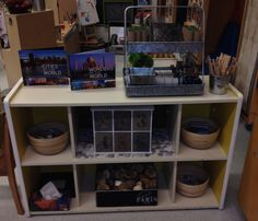 """Today we changed some shelves around to offer a new invitation to explore """"loose parts"""""""