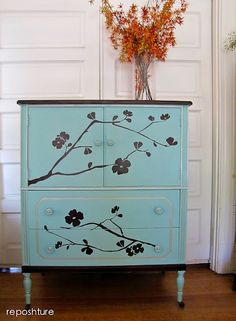 DIY Reverse Stenciled Bureau - Home Decor - Upcycled Furniture Craft Project by soapdeligirl