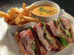 Enjoy a club sandwich and soup with home cut fries - made from delicious, locally sourced ingredients