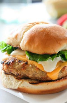 Cheddar Ranch Chicken Burgers