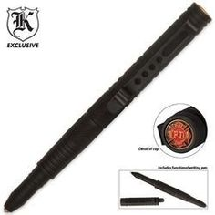 Firefighter Metal Tactical Defense Pen - Black Bud K