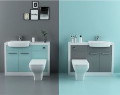 BATHROOM FITTED FURNITURE VANITY UNIT with SINK TOILET TAP WHITE & BLUE or GREY | eBay