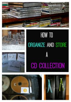 A step-by-step photo tutorial showing how to organize and store a CD collection. {Time With Thea} Organization Station, Household Organization, Life Organization, Organizing Tips, Organising, Cd Storage, Storage Ideas, Media Storage, Shelf Ideas