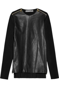 Proenza Schouler|Zip-detailed leather and ribbed-knit top|NET-A-PORTER.COM