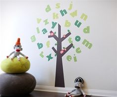 Large Colorful Alphabet Tree - Fabric Wall Art Decals for Kids Rooms - Unique Eco-friendly Fabric Wall Stickers for Nursery, Toddler Rooms, Day Care Centers - Fabric Wall Murals for Kids Rooms, Bedrooms, Playrooms, Library, Doctor's Office