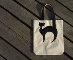 Cotton Tote with Black Cat Applique Canvas Tote by GingerStore