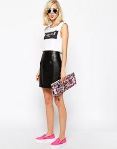 River Island Leather Look Mini Skirt