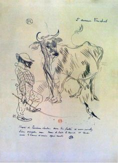 Toulouse Lautrec,   BNF, département des Estampes.  Lithographie  Auto-caricature en compagnie d'une vache pour une simple invitation venir boire une tasse de lait chez lui. (Mai 1887) (fait allusion ici, pour s'en moquer, au succès du nouveau bar parisien à la mode, le milk-bar).