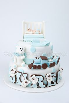 Baptism Cake / Tort na Chrzest Święty - love the teddies peeping out of the letters for the name Baby Boy Cakes, Cakes For Boys, Baby Shower Cakes, Fondant Cake Toppers, Fondant Cakes, Cupcake Cakes, Pretty Cakes, Beautiful Cakes, Christening Cupcakes