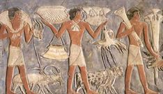 Offering bearers with gazelles, an ibex, an oryx and various other items including fruit, THE TOMB OF MEHU AT SAQQARA