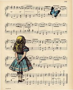Alice gazing at Blue Butterfly ART PRINT Alice in by BlackBaroque