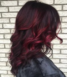 50 Cool Ideas of Lavender Ombre Hair and Purple Ombre burgundy+balayage+for+dark+brown+hair Red Highlights In Brown Hair, Purple Brown Hair, Short Brown Hair, Hair Color Dark, Ombre Hair Color, Hair Color Balayage, Brown Hair Colors, Dark Hair, Red Ombre