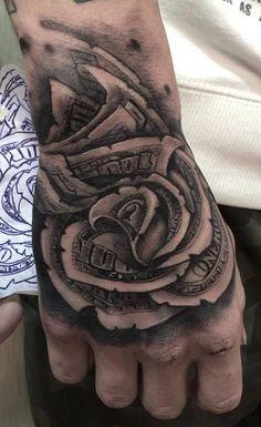 money rose done b Rose Tattoos, Body Art Tattoos, Tattoo Drawings, I Tattoo, Herren Hand Tattoos, Vegas Tattoo, Money Tattoo, Hand Tattoos For Guys, White Tattoos