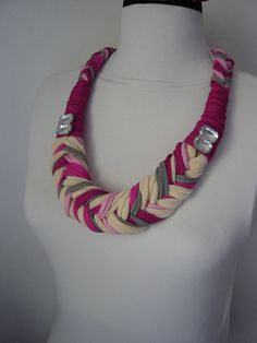 African necklace Braided jewelry Big necklace por DesignHappyDay