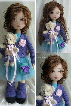 Textile doll Handmade doll Fabric doll blue brown color Soft doll Cloth doll…