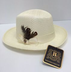 Godfather 100% Straw Ivory Hat Bruno Capelo Men's with Feather and Hat Band…