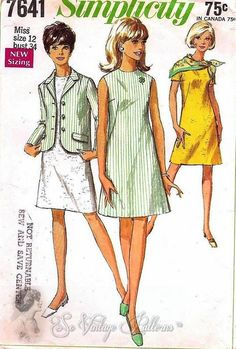 1960s Mod 4-H ALine Dress and Jacket Vintage Sewing Pattern Simplicity 7641 UNCUT Bust 31