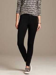 Faux-Leather Trim Ankle Zip Ponte Legging Product Image