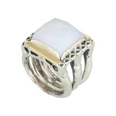 Coronation Day (CD009) Unique 925 sterling silver wide band ring set with moonstone and 9k gold edges.