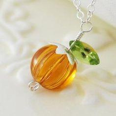 Halloween Jewelry Orange Pumpkin Necklace Glass by livjewellery on etsy by beatrice