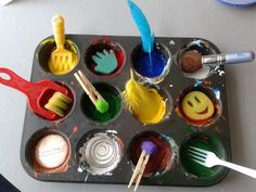 """Painting with random objects at 'Tu Tamariki - Play Based Learning' ("""",)"""
