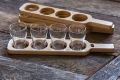 Maple beer flight paddle. Shipping to Canada and USA.  $30 (CAN) with glasses.