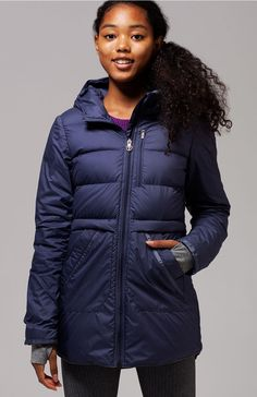 get wrapped up in warmth in this puffy jacket with a durable water–repellent finish. | Down For Cool Jacket