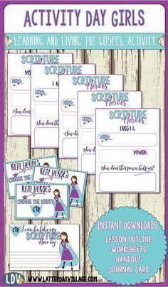 Scripture Heroes lesson for Activity Day Girls! Youth Group Activities, Primary Activities, Activities For Girls, Church Activities, Activity Day Girls, Activity Days, Book Of Mormon Scriptures, Days For Girls, Sister Day