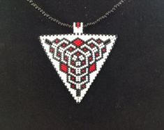 Winter Cabin Beaded Necklace by DoubleACreations on Etsy