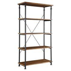 Ronay Rustic Industrial Wide Bookshelf Pine (Green) - Homelegance