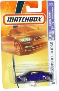 Mattel Matchbox 2007 MBX Metro Rides 1:64 Scale Die Cast Metal Car # 30 - Metallic Purple Sport Coupe Mitsubishi Eclipse by MBX. $11.98. 1/64 Scale. Age : 3+. Realistic Details. Diecast Metal & Plastic Parts. Mattel Matchbox 2007 MBX Metro Rides 1:64 Scale Die Cast Metal Car # 30 - Metallic Purple Sport Coupe Mitsubishi Eclipse