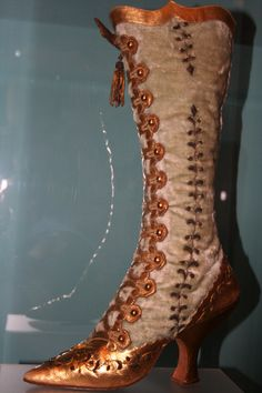 Victorian boots in museum.