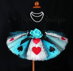 Tutu - Alice of Hearts - A Tiara's Boutique Original Design - Custom Sewn Tutu - Up to 12'' in length - Available in sizes up to 5T. $54.00, via Etsy.