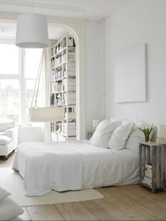 scandinavian style bedroom interior ideas bedroom design photo Photo of Scandinavian Bedroom Interior Design All White Bedroom, White Rooms, White Walls, White Bedding, White Linens, White Sheets, Linen Sheets, Blue Walls, Bed Linen