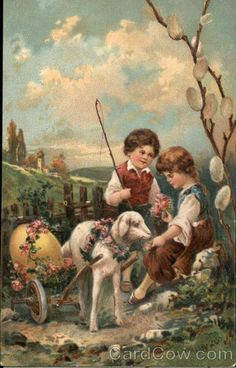 Easter drawings Children and Lamb Vintage Easter, Vintage Holiday, Vintage Birthday, Easter Art, Easter Crafts, Vintage Greeting Cards, Vintage Postcards, Easter Drawings, Easter Pictures