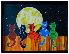 Cats Painting Acrylic Art, Cats Night Out, Childrens Painting Wall Art Diy Canvas, Canvas Art, Painted Slate, Cubism Art, Whimsical Art, Funny Art, Pictures To Paint, Acrylic Art, Crafts To Do