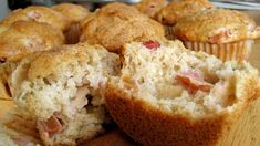 Rhubarb, cinnamon and yoghurt muffins | The creamy yoghurt is a perfect contrast for the tart pieces of rhubarb in this quick and easy muffin recipe. Get the kids to give you a hand!