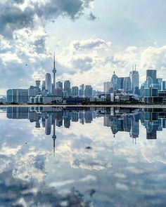 Toronto, Canada I Travel The World To Photograph The Parallel Worlds Of Puddles With My Smartphone - Guigurui, photographer Light Blue Aesthetic, Blue Aesthetic Pastel, City Aesthetic, Travel Aesthetic, Photo Wall Collage, Picture Wall, Nice Picture, Reflection Photography, Travel Photography