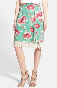 love the idea of this, would be easy to do to change-up or freshen a skirt....  June & Hudson Lace Trim Midi Skirt | Nordstrom