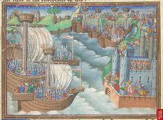 Miniature of the Christian fleet approaching Gaeta. The Three Kings' Master: Romance of the Three Kings' Sons (ff. 8-123). c.1475-c.1485. British Library, Harley 326, Fol. 29v
