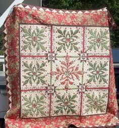Christmas Cactus Quilt, This is a Moda Kit put out about 4 years ago to showcase their Mistletoe Manor Line of fabric.  It is my 5th Annual Christmas Quilt made for a special Grandchild and given away in what the Grandchildren have dubbed the Christmas Quiltoff., Seasonal Project