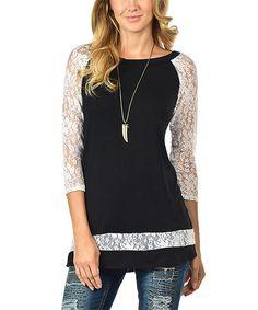 Look what I found on #zulily! Black & White Lace-Accent Raglan Tunic - Plus #zulilyfinds
